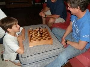 Frankie beet David in a game of chess, which is a perfect game for Pi Day.